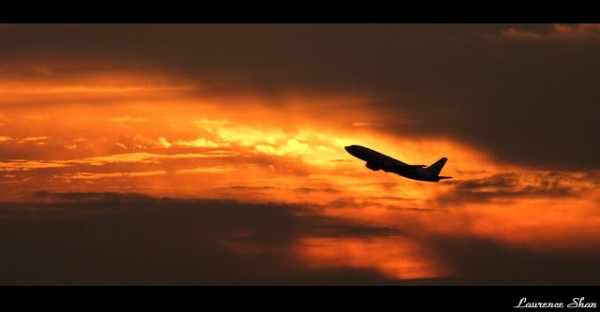 plane, sunset, travel
