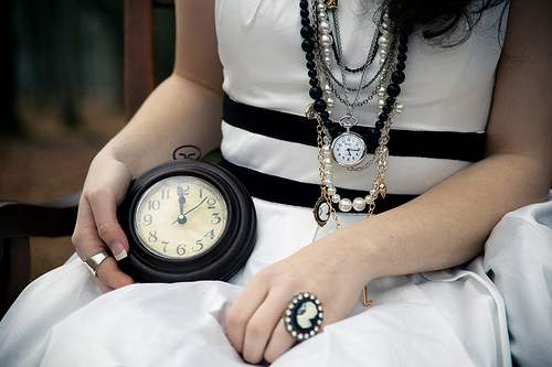 woman with clocks