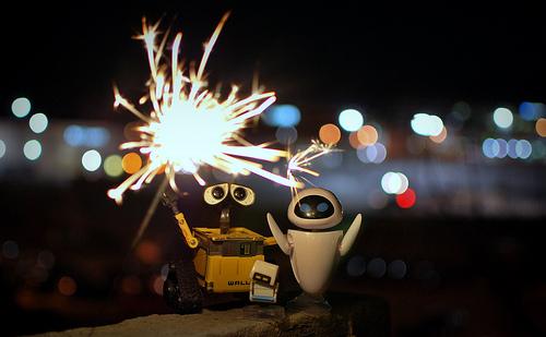 Wall-e celebrating New Year's
