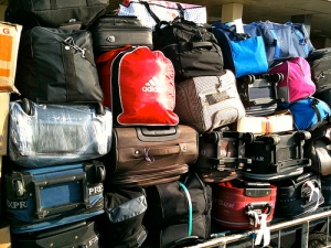 Luggage baggage piled up