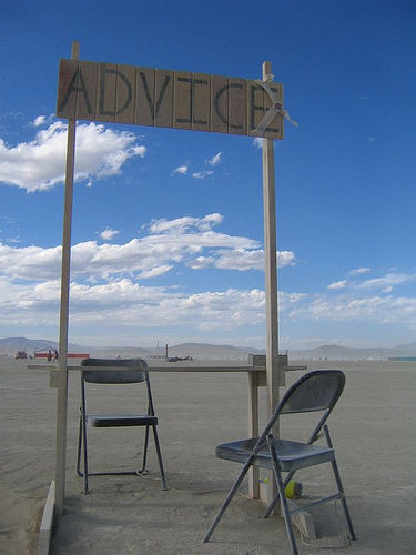 advice booth with chairs