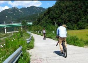 Riding bikes in Kangchon, South Korea