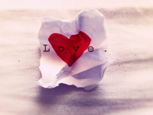 love heart on crumpled paper