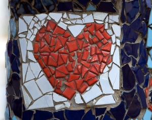 broken heart mosaic, art