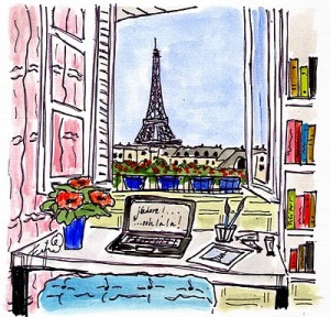 Drawing, computer and Eiffel Tower, Paris scenery