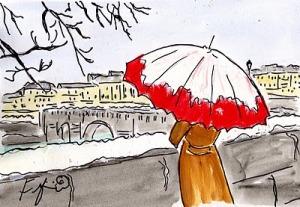 Paris, drawing, rain, umbrella