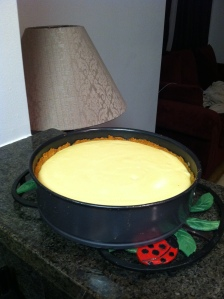 Baked homemade cheesecake photo