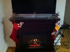 Stockings, fireplace, Christmas