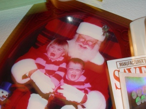 children crying on Santa's lap