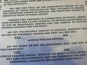 contract to skydive in Hawaii