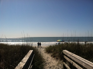 Walking up to Myrtle Beach, pathway to beach