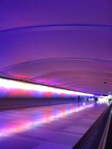 Detoit airport art, walkway, music and lights