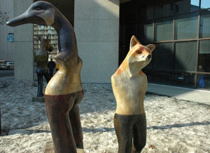 goose fox sculpture